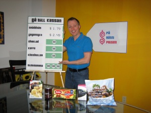 This was me in 2007, rehearsing for my Swedish final exam, a grocery pricing game using IKEA products.